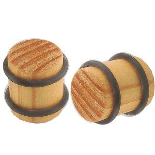 "1/2"" inch (12mm)   Organic Cedar wood Ear Large Gauge Plugs Earlets with Double Black O rings ACFG   Ear stretched Stretching Expanders Stretchers   Pierced Body Piercing Jewelry   Sold as a Pair Jewelry"