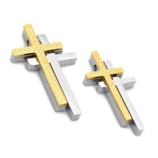 K Mega Jewelry Stainless Steel Gold Couple Cross Mens Womens Unisex Pendant Necklace Jewelry