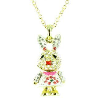 Clear Crystal and White on Gold Plated Rabbit Necklace Jewelry