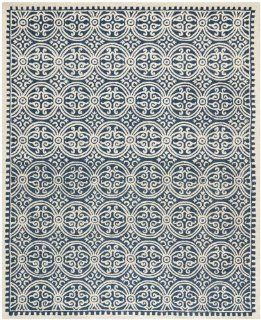 Safavieh CAM123G Cambridge Collection Handmade Wool Area Rug, 10 Feet by 14 Feet, Navy Blue and Ivory
