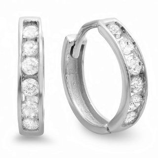 0.33 Carat (ctw) Small 11mm 10K White Gold Round Diamond Ladies Mens Unisex Huggie Hoop Earrings Jewelry