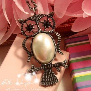 JA154 Big Eye Owl Necklace, Faux Shiny Big Pearl Belly Owl Necklace Pendant Necklaces Jewelry