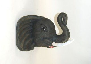 Paper Mache Animal Head Elaphant Decor  Repurposed Decor Paper Mach� Elephant Head Hanging Wall Sculpture  Hand Painted Recycled Papermache Wall Mount Faux Taxidermy African Safari Animal Art