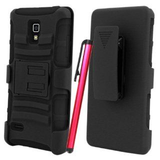 [ManiaGear] T Mobile LG Optimus L9 P769 Black/Black Heavy Duty Combat Holster Case + Screen Protector & Stylus Pen Cell Phones & Accessories