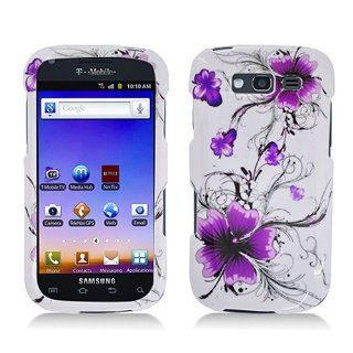 White Purple Flower Hard Cover Case for Samsung Galaxy S Blaze 4G SGH T769 Cell Phones & Accessories