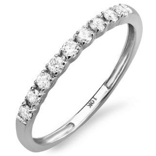 0.25 Carat (ctw) 10k White Gold Round Diamond Ladies Anniversary Wedding Band Enhancer Guard 1/4 CT Jewelry