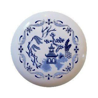 Blue willow design Ceramic Knobs Pulls Kitchen Drawer Cabinet Vanity Closet 798   Cabinet And Furniture Knobs