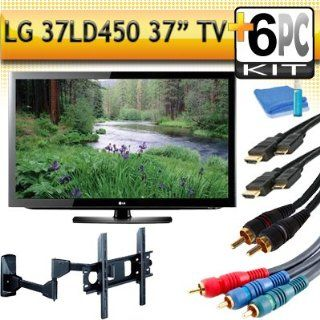 "LG 37LD450 37"" 1080p LCD HDTV with Articulating Wall Mount & 5pc Hook Up Kit (2 6FT Hdmi Cables,6FT Audio Interconnect Cable ,6FT Component Cable, TV Cleaning Kit) Electronics"