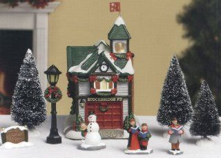 "Norman Rockwell's 9 Piece ""Stockbridge at Christmas"" Porcelain Fire House Set   Holiday Collectible Buildings"