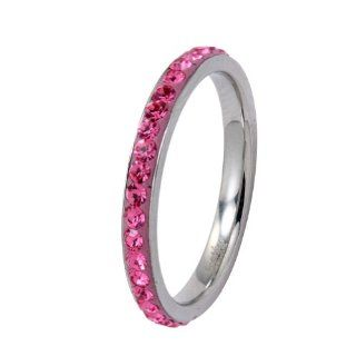 Polished Stainless Steel Wedding Band Ring With Pink Cubic Zirconias in Center Jewelry