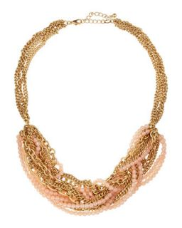 Mixed Chain & Beaded Torsade Necklace, Pink