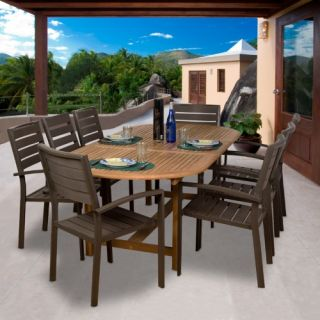 Ancara Teak and Faux Wood Dining Set   Seats 8   Patio Dining Sets