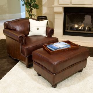 Mansfield 2 Piece Set Top Grain Leather Accent Chair and Ottoman in Raisin   Leather Club Chairs