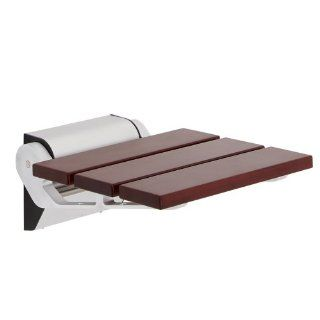 Modern Sapele Folding Wooden Shower Seat With Chrome Brackets & Narrow Base   Solid Wood Fold Down Spa Bench   Wall Mounted Luxury Bath Accessory Fixture