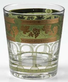 Cera Glass Golden Grapes Green 5 Oz Flat Tumbler   Gold Grapes On Green Band