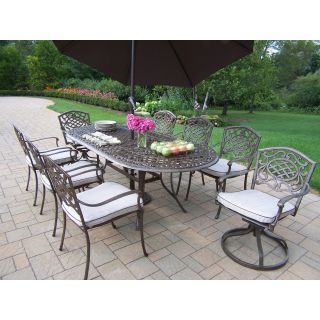 Oakland Living Mississippi Cast Aluminum 82 x 42 in. Oval 9pc Dining Set with Swivels and Cushions plus Tilting Umbrella and Stand   Patio Dining Sets