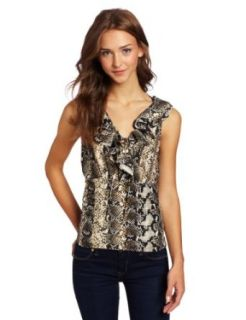 Rampage Juniors Ruffle Snakeskin Top, Black/Yellow, Large
