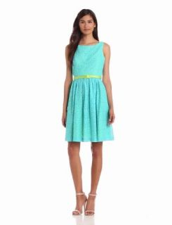 Jessica Howard Women's Sleeveless Belted Sundress With Open Back, Turquoise/Green, 14 Dresses