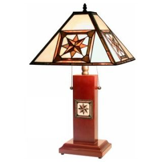 Tiffany Style Octagram Mission Table Lamp   Table Lamps