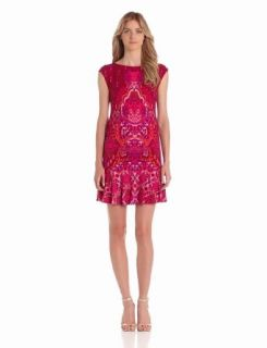 Donna Morgan Women's Extended Sleeve Drop Waist Dress, Burgundy/Multi, 6