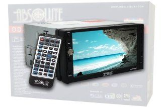 Absolute DD 3000BT 7 Inch Double Din Multimedia DVD Player Receiver with Touch Screen System Display and Detachable Front Panel Built In Bluetooth  Vehicle Dvd Players