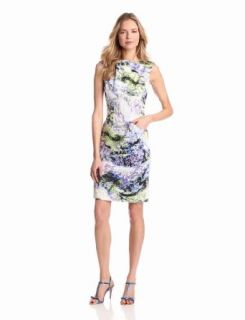 Maggy London Women's Printed Cap Sleeve Sheath Dress, Blue, 10