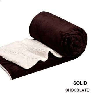 Queen Blanket Super Soft Plush Faux Fur Chocolate Sherpa Blankets / Reversible Winter Throw Bedspread