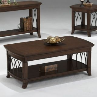 Bernards Cathedral Cherry with Metal Coffee Table   Coffee Tables