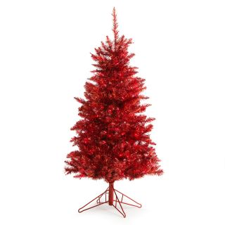 4 ft. Red Tiffany Tinsel Tree   Christmas Trees