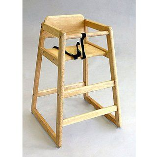 LA Baby Commercial/Restaurant Wooden High Chair, Natural  Childrens Highchairs  Baby