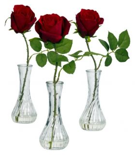 Red Rose with Bud Vase Set of 3   Silk Flowers