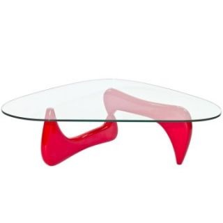 Modway Triangle Red Wood Glass Top Coffee Table   Coffee Tables