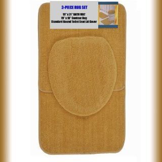"GOLD 3 Piece Bathroom Set 1 19"" x 31"" Bath Mat/Rug, 1 19"" x 18"" Contour Mat/Rug, 1 Toilet Seat Lid Cover Standard Round. Non Slip/Non Skid.   Mat Sets For Toilet"