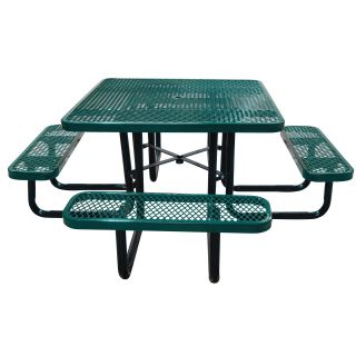 Leisure Craft Commercial Square Expanded Metal Picnic Table   Picnic Tables