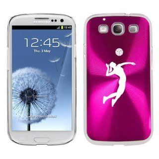 Hot Pink Samsung Galaxy S III S3 Aluminum Plated Hard Back Case Cover K1014 Female Volleyball Player Cell Phones & Accessories