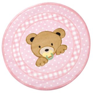 L.A. Rugs Teddy Bear Pink Round Area Rug   Nursery Decor