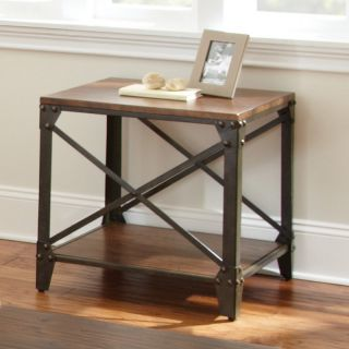 Steve Silver Winston Square Distressed Tobacco Wood and Metal End Table   End Tables
