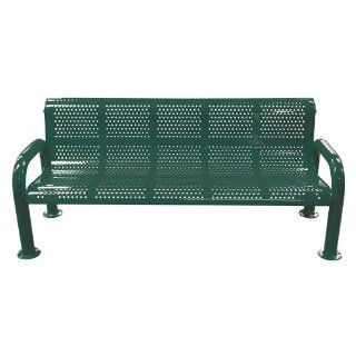 8 ft. Multicolor Perforated U Leg Commercial Grade Personalized Park Bench   MULRF96   Outdoor Benches  Patio, Lawn & Garden