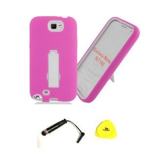 For Samsung, Impact Kickstand Hybrid Hard Silicone Case with Wydan Branded Prying Tool and Stylus Pen (Galaxy Note 2, Pink on White) Cell Phones & Accessories