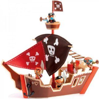 Djeco Arty Toys Action Figures Ze Wooden Pirate Ship Boat Toys & Games
