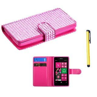 Snap on Cover Fits Nokia 521 Lumia Pink Diamonds Book Style MyJacket Wallet (with Card Slot)(828) + A Gold Color Stylus/Pen T Mobile Cell Phones & Accessories
