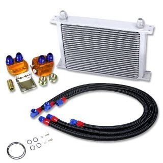 OC 25R SL+OFRL+L BK, Aluminum Silver Powder Coated 25 Row 10 AN Engine Transmission Rear Differentials Oil Cooler Overall Size 13 x 8.75 x 2 with Oil Cooler Filter Black Relocation Line with Fitting Kit Automotive