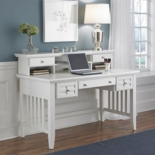 Home Styles Arts & Crafts Executive Desk and Hutch   White   Computer Desks