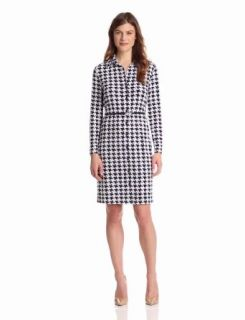 Anne Klein Women's Hounds Tooth Print Dress, New Marine Multi, Medium