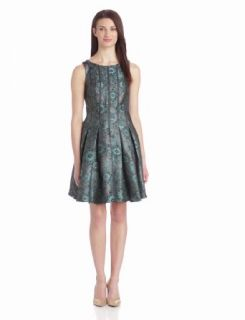 Ivy & Blu Women's Sleeveless Brocade Dress With Vegan Leather Trim
