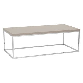 Euro Style Teresa Rectangular Coffee Table   Taupe Lacquer / Polished Stainless Steel   Coffee Tables