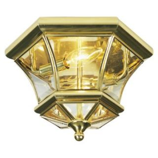 Livex Monterey 7052 02 Outdoor Ceiling Light   7H in. Polished Brass   Outdoor Ceiling Lights
