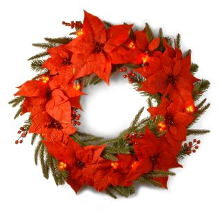 24 in. Poinsettia Pre Lit LED Christmas Wreath   Battery Operated   Christmas Wreaths