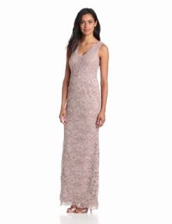 Adrianna Papell Women's V Neck Lace Gown, Mauve, 2