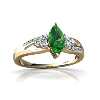 Lab Emerald 14kt Yellow Gold modern Ring Jewels For Me Jewelry